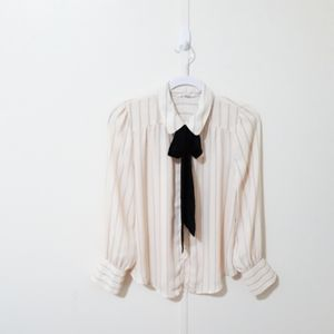 Mine cream & black striped blouse with bow